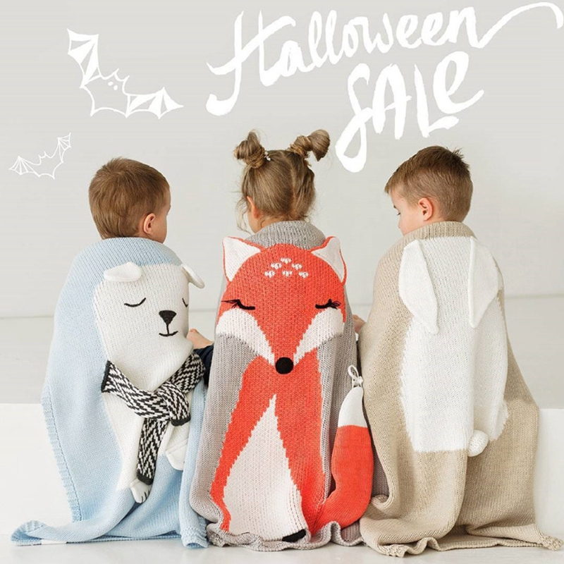 Animal Fox Baby Blanket Lovely Portable Wool Quilt Baby Knitting Blanket Air-condition Swaddling Sleeping Playing Crawling Mat