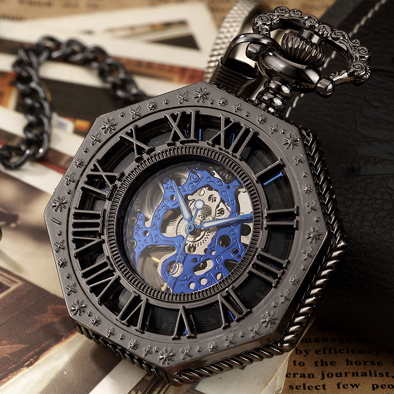 Black Mechanical Pocket Watch For Men Antique Steampunk Skeleton Roman Numeral Fob Chain Pendant Hand Winding Montre De Poche