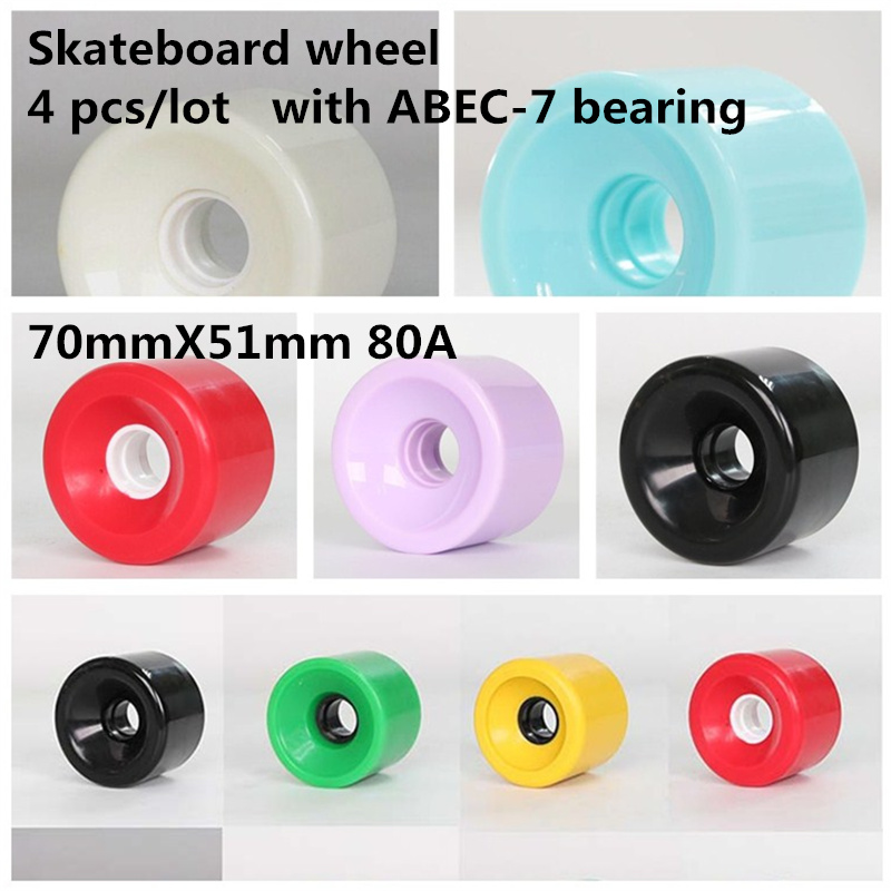 NONMON 4Pcs Longboard Skateboard Wheels 70mm 80A with 8Pcs Skateboard Bearings Abec-9 608RS,Replacement Wheels for Cruiser Pennyboard Waveboard Snakeboard,Good for Beginners,Black