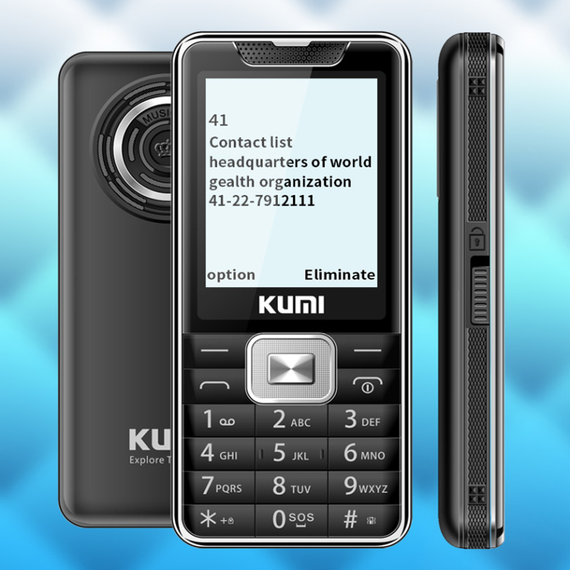 KUMI Unlocked Feature Mobile Phone with Infrared Thermometer Flashlig Senior Kids Dual SIM Card Cellphone Bluetooth Xiami Mi 1