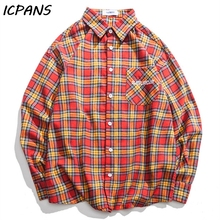ICPANS blouse Shirt Men Long Sleeve Streetwear Hip Hop Camisa Hombre Plaid button up shirt  2019 Spring Autumn Loose Oversize цена