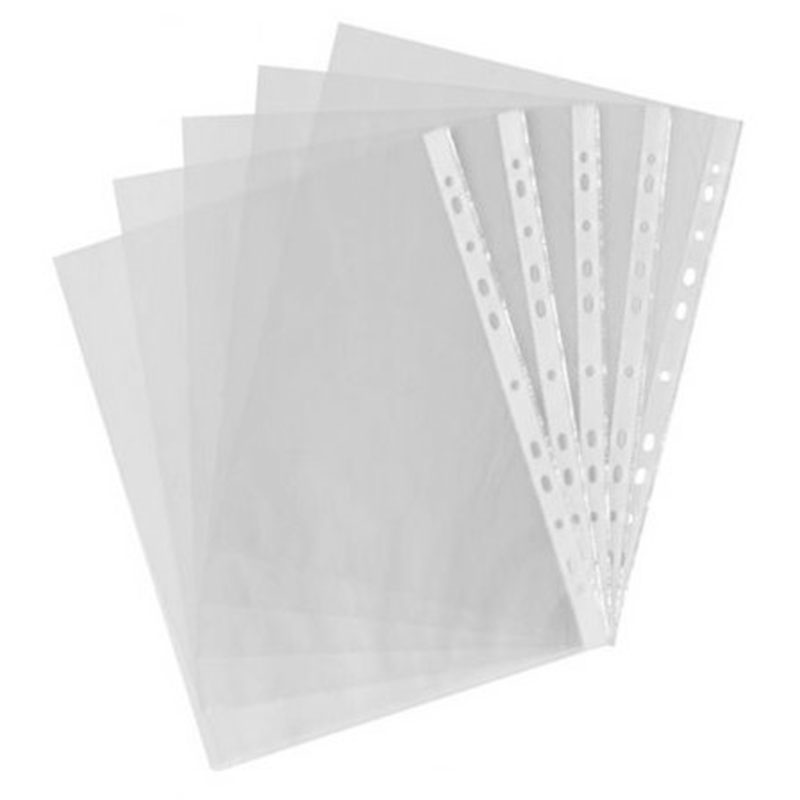 100pcs A4 PP Punched Punch Pockets Folders Filing Wallets Sleeves Bag Transparent 0.04mm