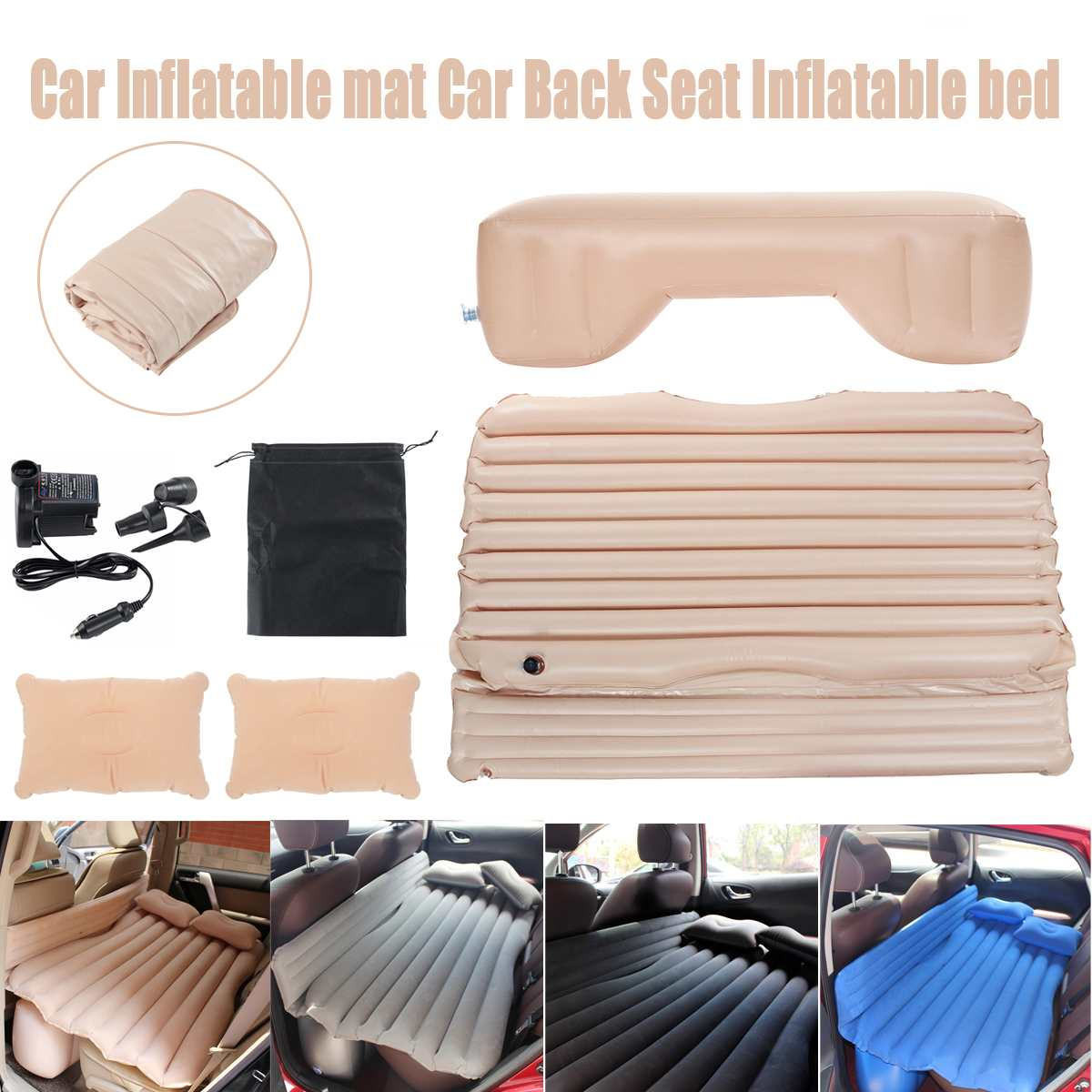 Black/Gray/Beige/Blue Car Inflatable Mat Outdoor Traveling Camping Folding Sleeping Bed Air Mattresses With Pillow And Pump