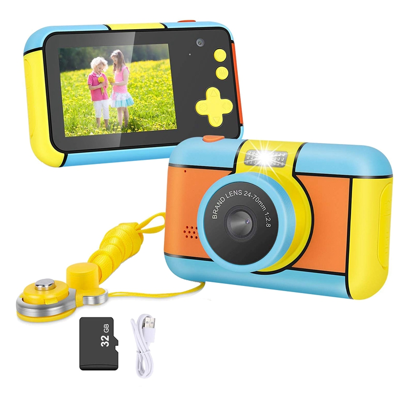 Kids Camera - Kid Digital Camera Gifts For Age 3-10 Years Old Boys Girls, 1080P 2.4 Inch Large LCD Blue Screen Video Camcorder,
