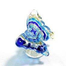 Синее муранское стекло фигурка Бабочки Красивая Золотая фольга