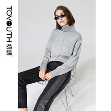 Toyouth Solid Turtleneck Long Sleeve Autumn Sweater Women Loose Pullover Tops