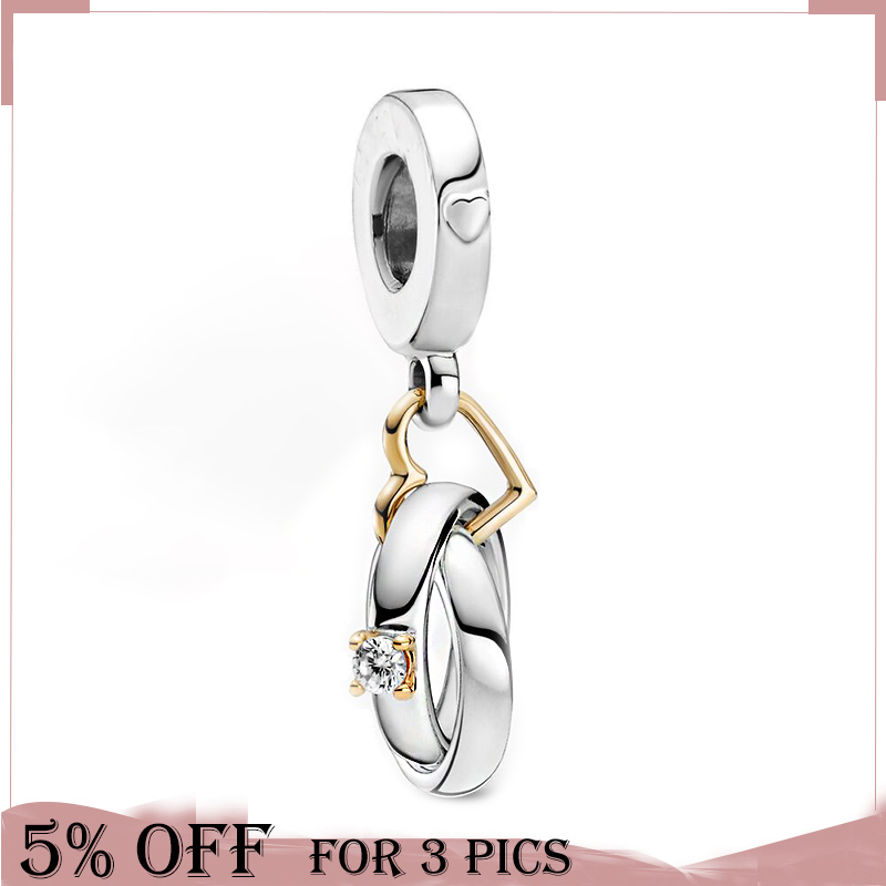 Trendy 925 Sterling Silver Bead 14k Gold Two-tone Wedding Rings Dangle Charm Fit Original Pandora Bracelet Women Jewelry Gift