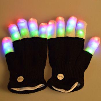 1Pc LED Glow Glove Rave Light Flashing Finger Lighting Mittens Magic luminous Novelty Party Accessory