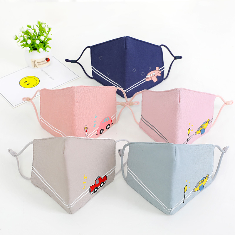 Winter New Style Children's Cotton Folding Mask Ear Rope Adjustable Cartoon Printed Students Dustproof Mask