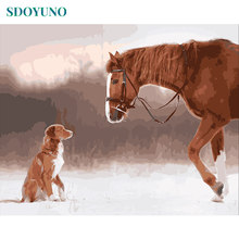 SDOYUNO Painting By Numbers DIY 60x75cm Horse and Dog pictures by numbers Frameless For Unique Gift Home Decoration(China)