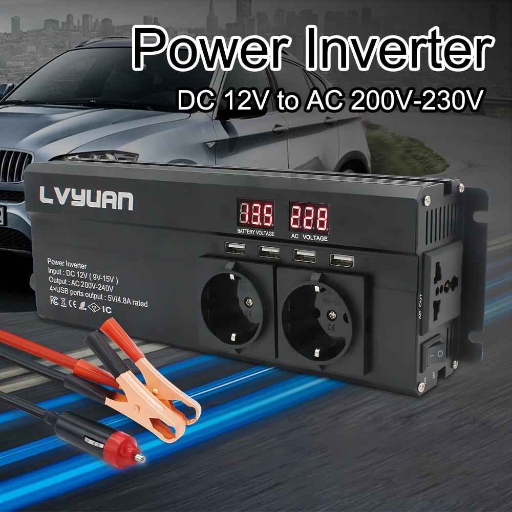 Автомобильный инвертор 6000 Вт пиковый постоянный ток 12 В/24 В в переменный ток 220 В светодиодный дисплей и европейская вилка преобразователь н...