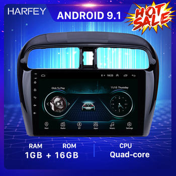 Harfey Car Multimedia player for Mitsubishi Mirage 2012-2016 9Android 9.1 Car Radio GPS Navi HD Touchscreen SWC support DVR OBD image