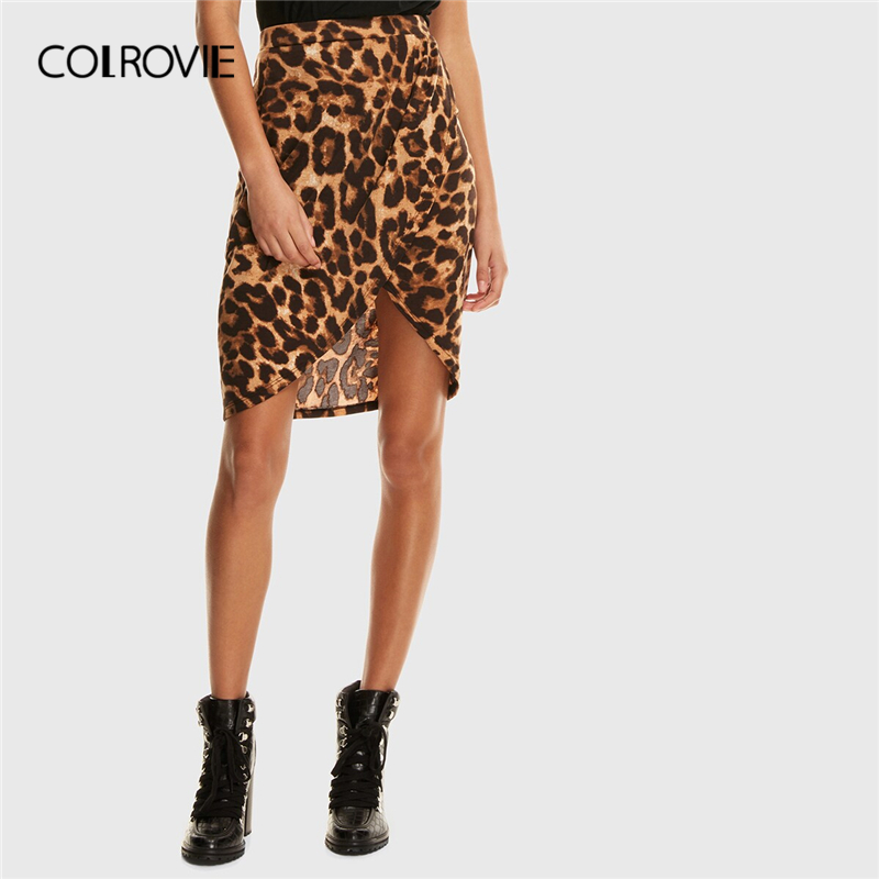 COLROVIE Leopard Print Wrap Split Front Skirt Women Glamorous Mini Skirt 2019 Summer Fashion Brown Ladies Bodycon Skirts