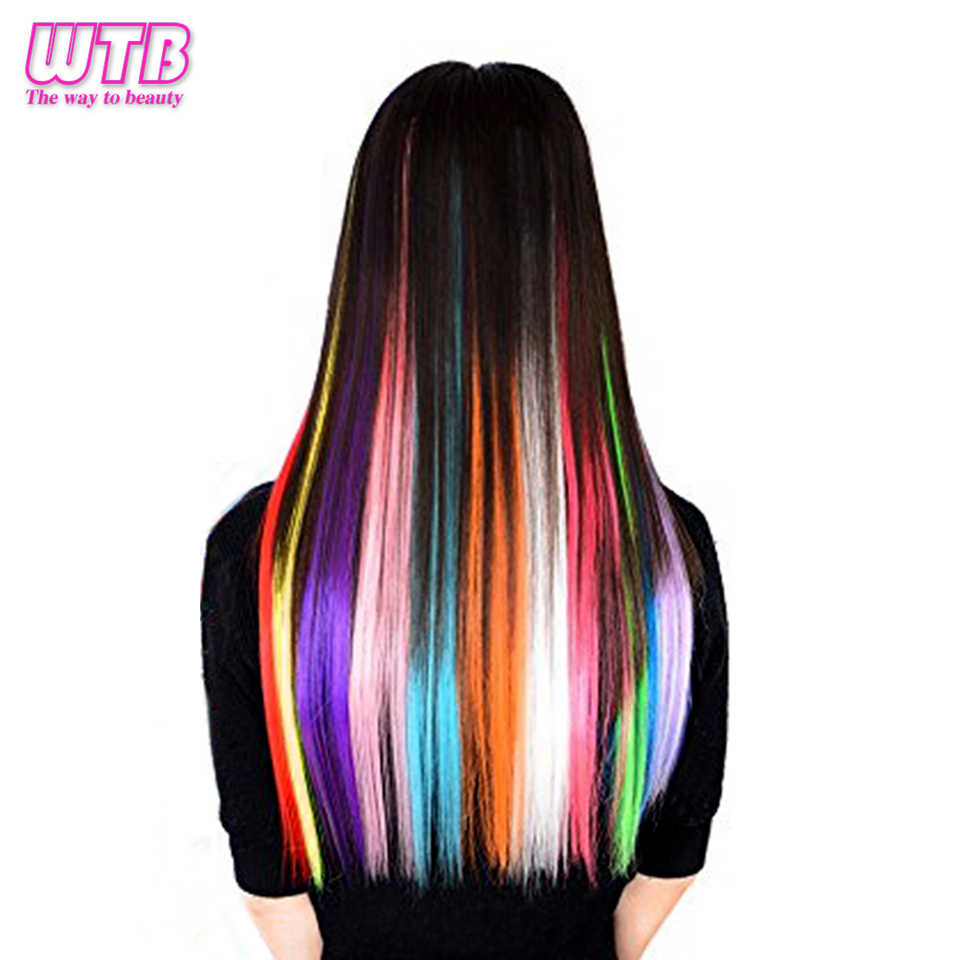 WTB 38 Colors 50CM Long Straight Heat Resistant Synthetic Fake Hair Extensions 1Clip In One Pieces Pink Blue Ombre Hair Piece