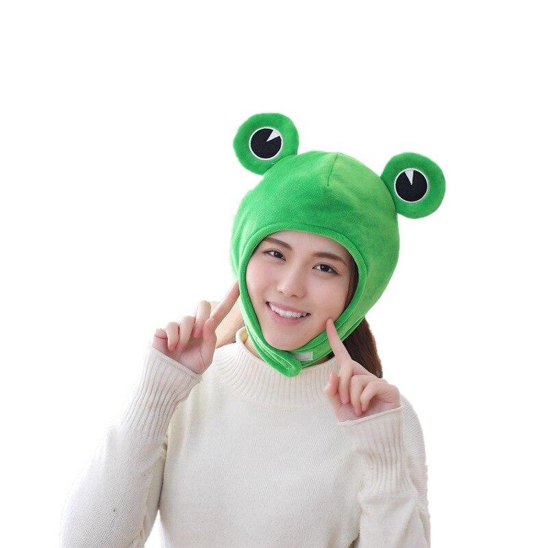 Кавайная забавная плюшевая шапка с большими глазами лягушки