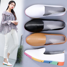 цена на Genuine Leather Women Loafers Shoes Flats Soft Casual Sneakers Mujer Fashion Mocassins Woman Slip-on Light Non-slip Nurse Shoe