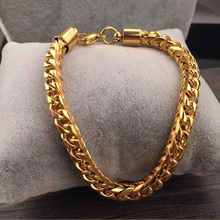 Stainless Steel Bracelets Bangles Beads Braided Wheat Bracelet for Men Women Gold Color Chain  Mens Wholesale Jewelry