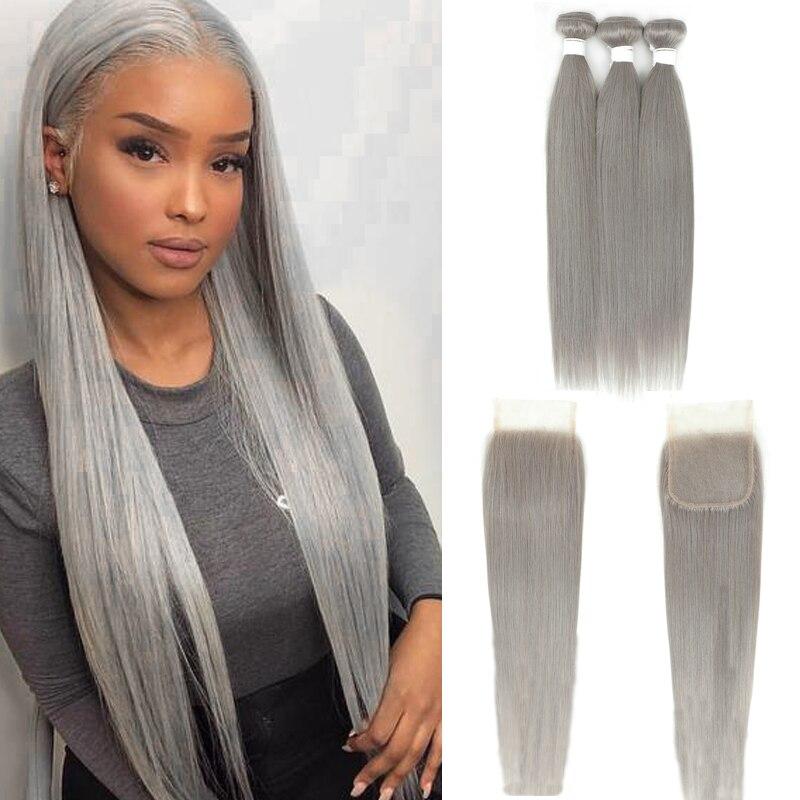 Pacote reto brasileiro com fechamento 4x4 prata cinza cor 3 pacotes com fecho cinza não-remy 100% feixes de cabelo humano kemy