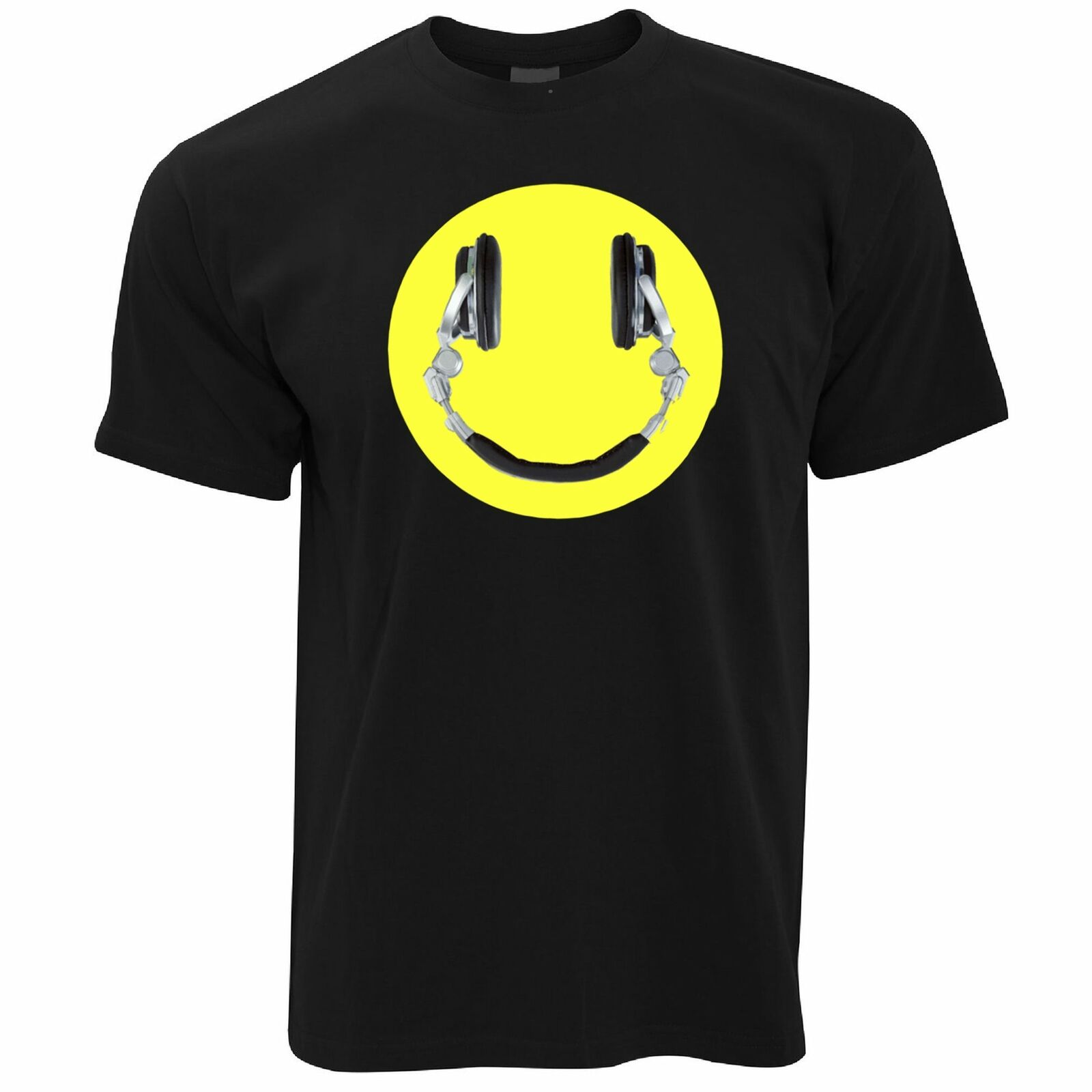 Music T Shirt Headphones Happy Smile Face DJ Musician Party Tunes Logo