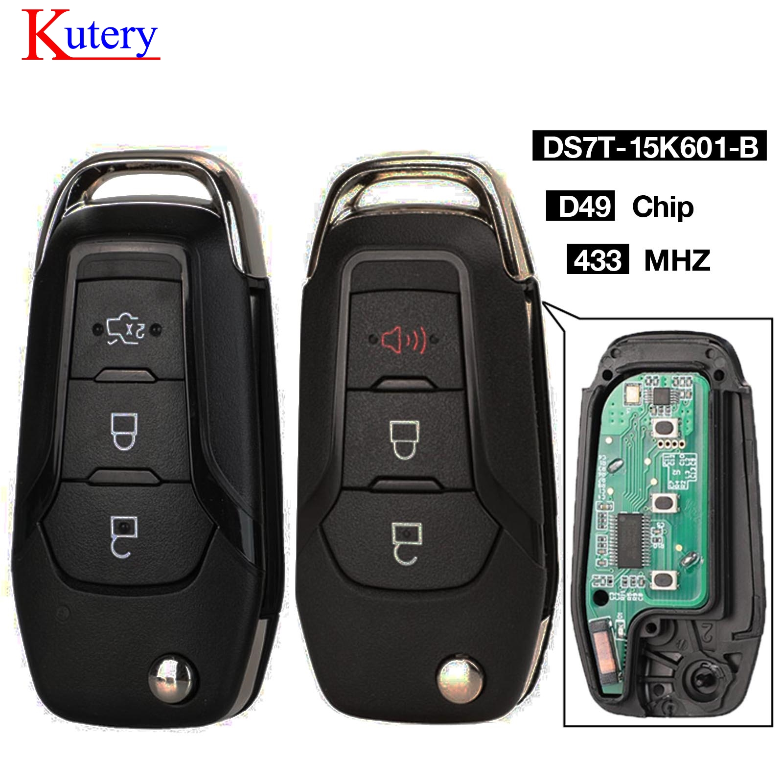 kutery  Flip Remote Key Fob 3 Button 433MHZ ID49 Chip For Ford S-MAX GALAXY MONDEO Mk2 Mk7 Explorer Ranger DS7T-15K601-B