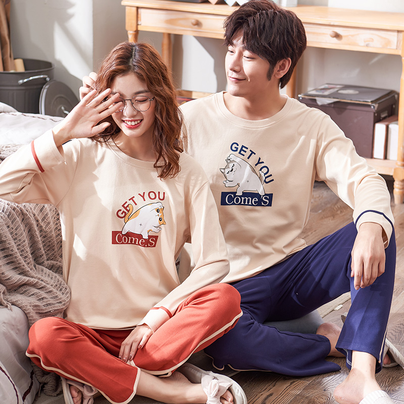 Matching Couple Pajama Set Cotton Pijamas Long Sleeve Sleepwear Cute Cat Home Suit Pyjama For Lover Man Woman Lovers' Clothes