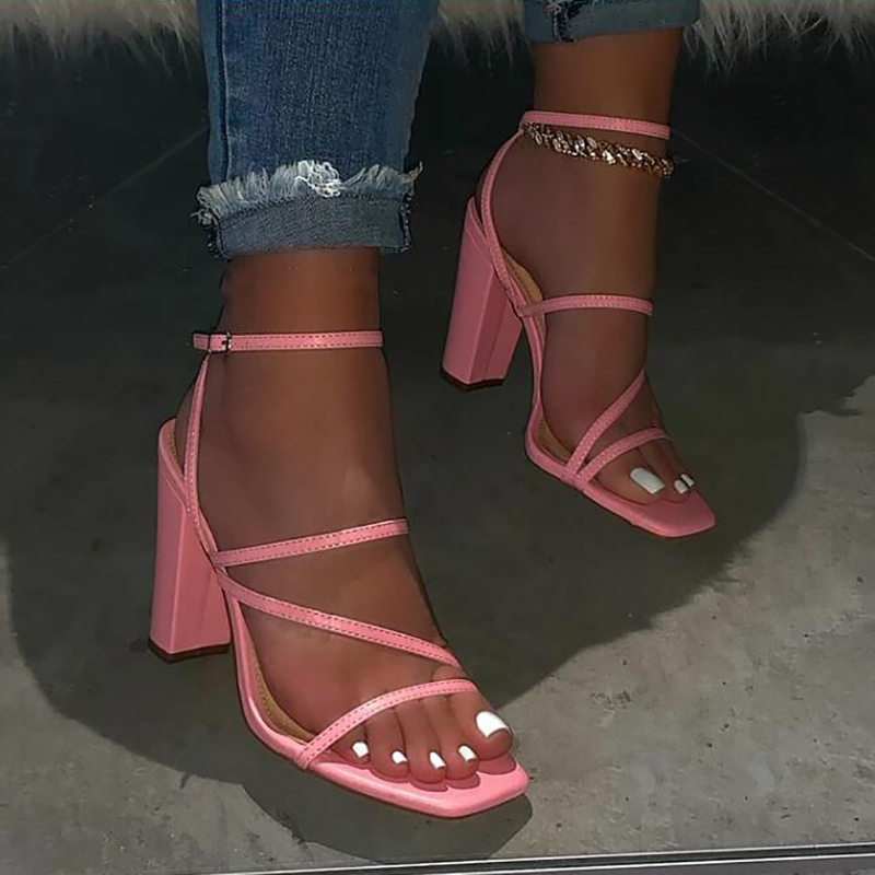 Pink New Summer Sandals Comfortable And Versatile Open-toe High-heeled Sandal Casual Outdoor Solid Color Plus Size Shoes Sandals