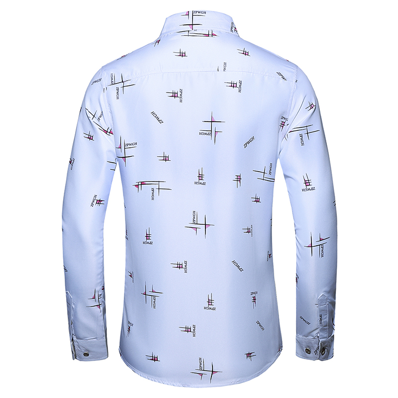 M- 7XL long sleeve flower shirt male Spring and Autumn Men's Casual Shirt Simple letter printing business meeting men's clothing