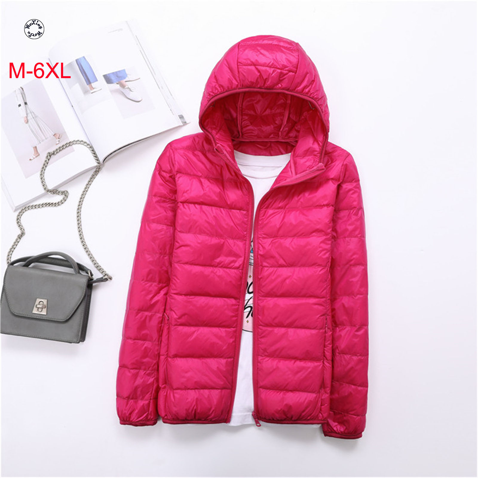 Woxingwosu light down eiderdown women's short hooded down jacket bonnet slim body size code jacket.