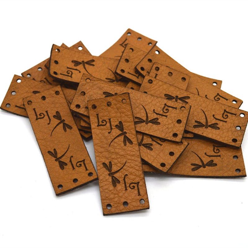 30pcs Leather tags for knitting crochet personalized wih logo Rectangle clothing handmade labels Sewing knitted garment labels