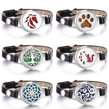 Aromatherapy Bracelet Leather Stainless Steel Essential Oil Diffuser Locket Bracelet Aroma Diffuser Jewelry Support Dropshipping new summer kid adjustable mosquito repellent bracelet essential oil diffuser bracelet children men women aroma silicone bracelet