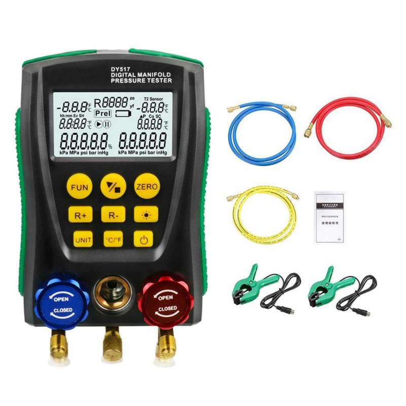 DY517A Pressure Gauge Refrigeration Digital Vacuum Pressure Manifold Tester Meter HVAC Temperature Tester Tool Kit