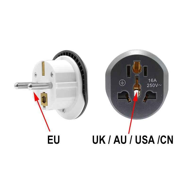 Штепсельная Вилка европейского стандарта, штепсельная вилка стандарта США в ЕС, адаптер 16А 250В, Универсальный дорожный адаптер, розетка европейского стандарта, настенная розетка стандарта Австралии, Великобритании, Китая и ЕС, Высококачественная розетка переменного тока, CE