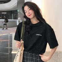 Super Fire CEC Short Sleeve T shirt Women's 2019 Korean style Fashion Students INS Harajuku Style Western Style Funeral of Tops
