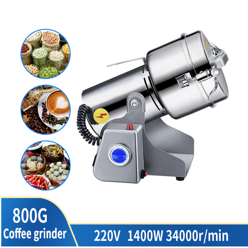 800g 1400W Stainless Steel Sanqi Cone Coffee Grinder Dry Food Traditional Chinese Medicine Superfine Powder Machine