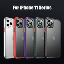 Micro Scrub translúcido caso duro para iPhone 11 Pro Max 11 Pro 11 XS Max XR XS X 7 8 funda trasera de PC mate con teclas de Color Plus Hit