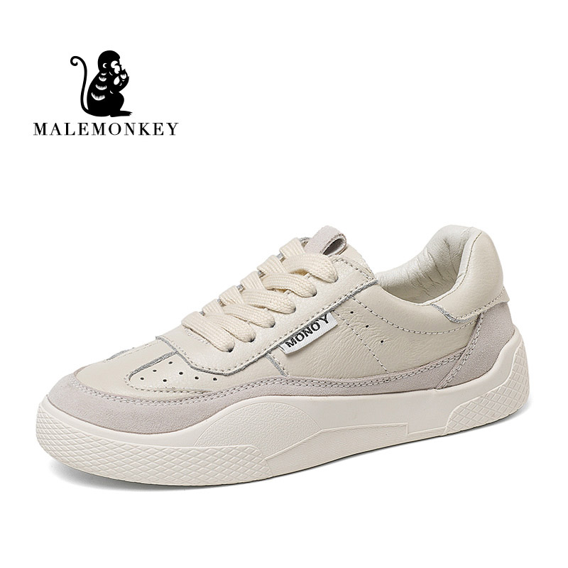 MALEMONKEY 831645  Women Sneakers Lace-up Casual Ladies Shoes White 2020 Fashion Breathable Flat Bottom Comfortable Women Shoes
