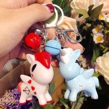 Cute Cartoon Dreamy Unicorn Doll Key Chain Ring Fashion Creative DIY Bell Womens Car Bag Pendant Jewelry