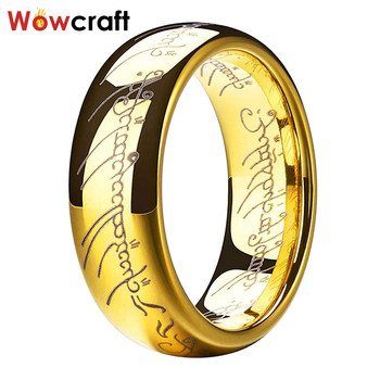 8mm Lord of Rings Figures Tungsten Steel Lord of Ring for Men Women Yellow Gold Comfort Fit Size 5-15