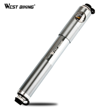 WEST BIKING High Pressure 160 PSI Bicycle Pump Mini Portable Handle Tire Inflator Air Pump Alloy Cycling Bike Pump With Gauge