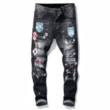 Classic DSQUARED2 WOMEn/Man Ripped Jeans Biker Jeans Outwear Men Patch badge Trousers DSQ2 Brand