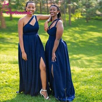 цена на Simple Navy Blue Bridesmaid Dress 2020 One Shoulder Long Satin Side Split Robe De Soiree Wedding Party Dress