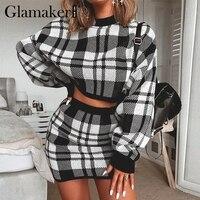 Glamaker, клетчатый вязаный костюм-двойка, сексуальное осеннее платье, женское Элегантное зимнее платье-свитер, сексуальные женские модные веч...
