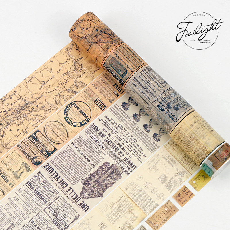 8M Retro Newspaper Ticket English Life Washi Tape Adhesive DIY Scrapbooking Sticker Label Masking Tape Album Decoration Gift