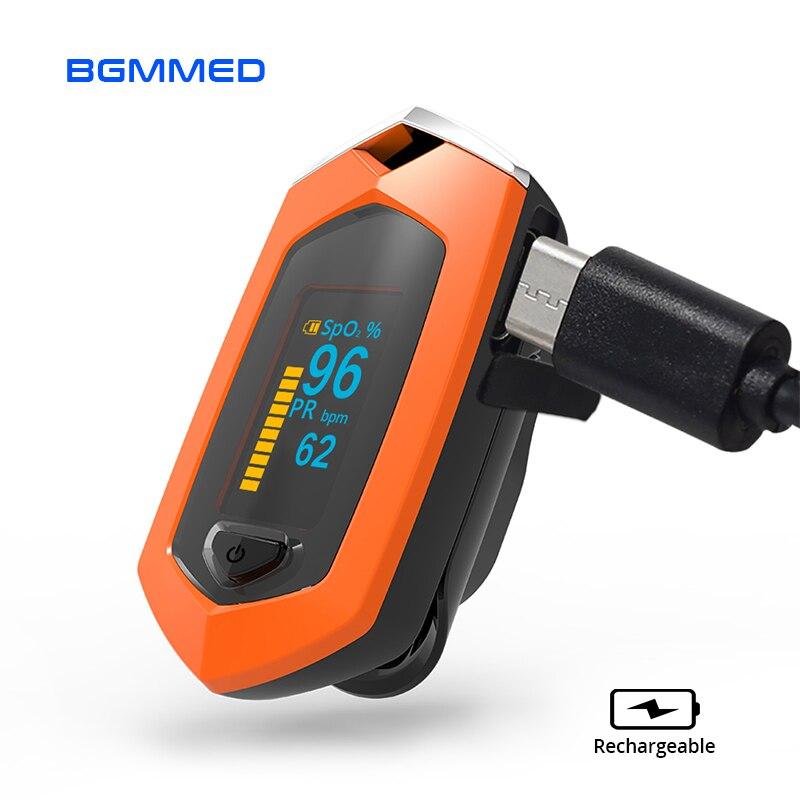 Oxímetro de pulso do dedo recarregável oxigênio no sangue monitor de freqüência cardíaca spo2 esportes pulsioximetro