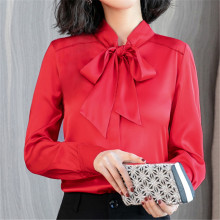 Fashion Autumn Women Silk Shirt Woman Satin Blouse Elegant Woman Bow Blouse Shirt Plus Size Womens Tops and Blouses Women Shirts жилметт лоренс лука пианка guillemette laurens luca pianca lettera amorosa