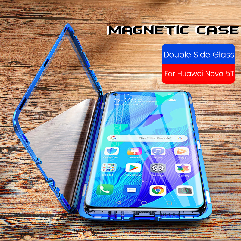 For Honor 20 Case Luxury Magnetic Tempered Glass 360° Magnet Protective Flip Case For Huawei Nova 5t 5 t t5 Nova5t Cover Coque image
