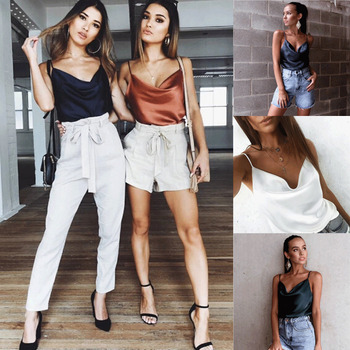 Sexy Fashion Women Summer Hot Loose Satin Vest Deep V Neck Top Sleeveless Casual Tank Tops T-Shirt Clothing sexy women solid strappy vest tank top summer sleeveless slash neck tanks beach women sports tank tops hot dropshipping