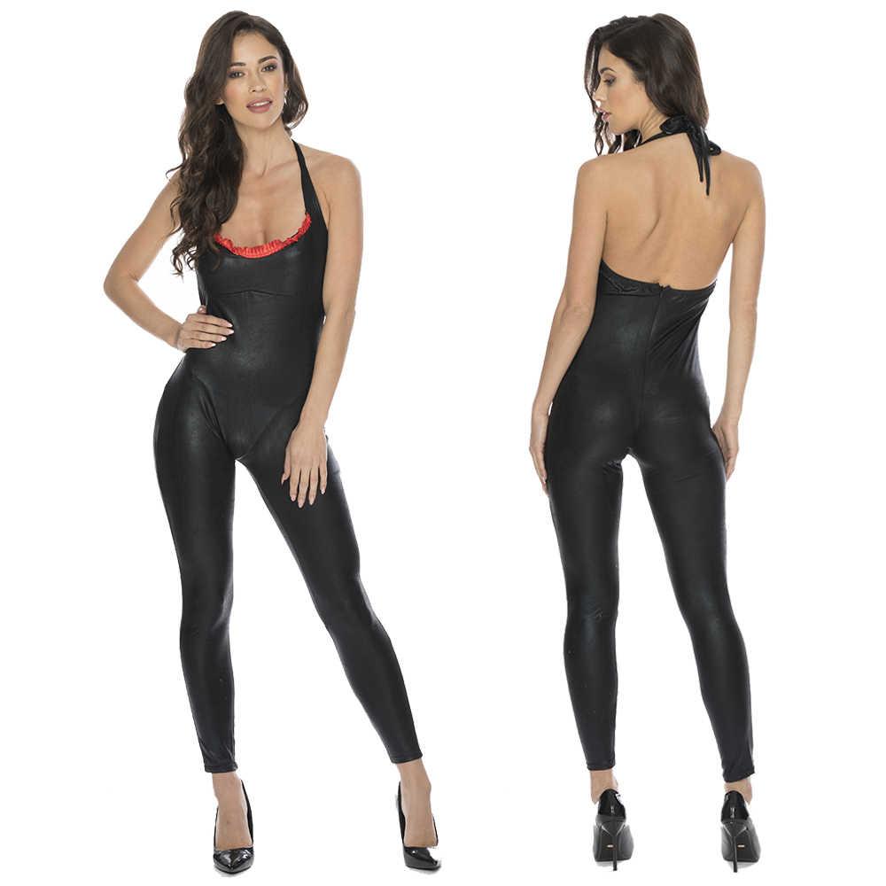 Las mujeres Lencería nocturna Sexy Club mameluco imitación cuero adultos de látex PVC Catsuit Halter de cuero de vinilo negro Sexy body