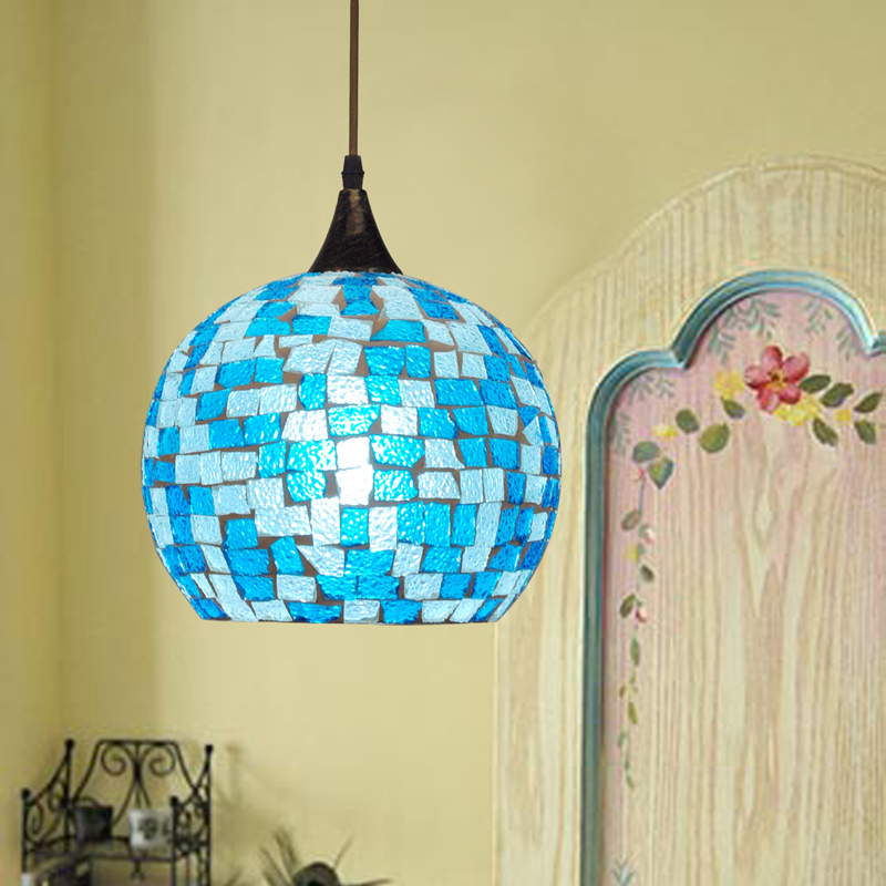 Bohemian Style Glass Lampshade Mediterranean Stained Glass Suspended Luminaire For Corridor Bedroom Single-head Pendant Lamp