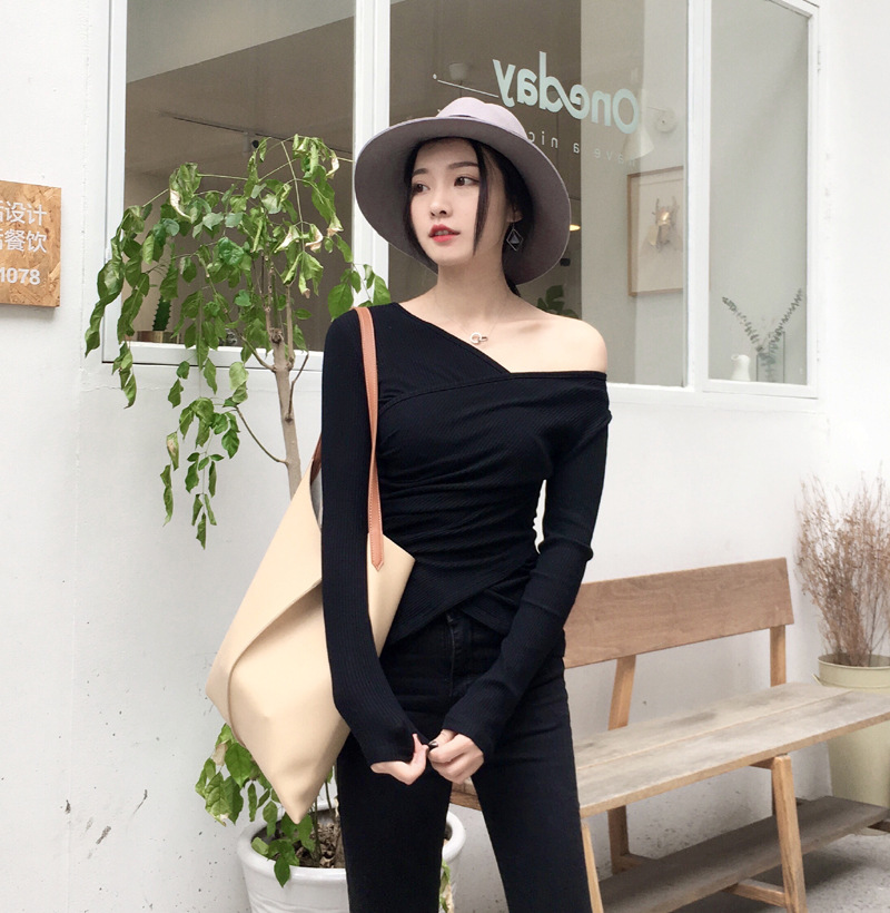Clearance Spring Special Offer Photo Shoot 2019-Cross V-neck off-Shoulder Long Sleeve Slim Fit Tight-Fit Knit Base T-shirt <font><b>3601</b></font> image